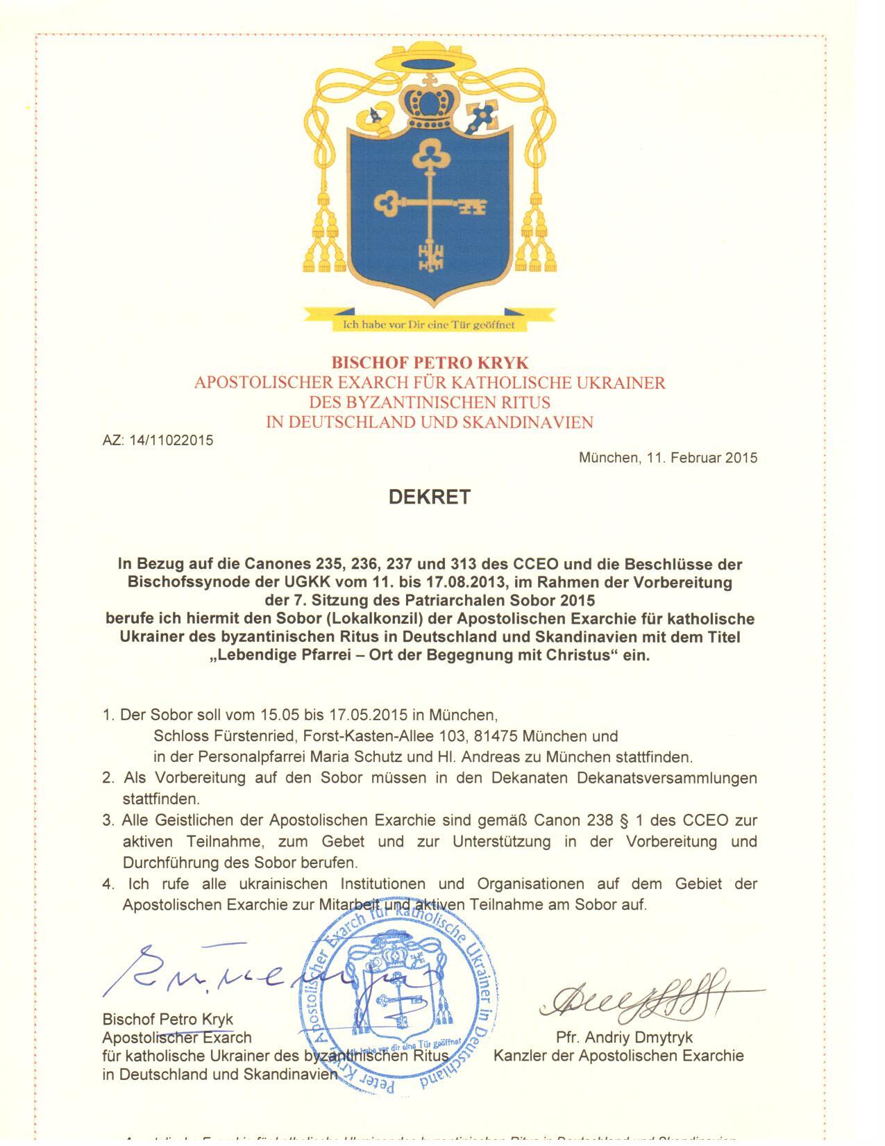 Dekret-Einberufung d.Sobor d.AE-de