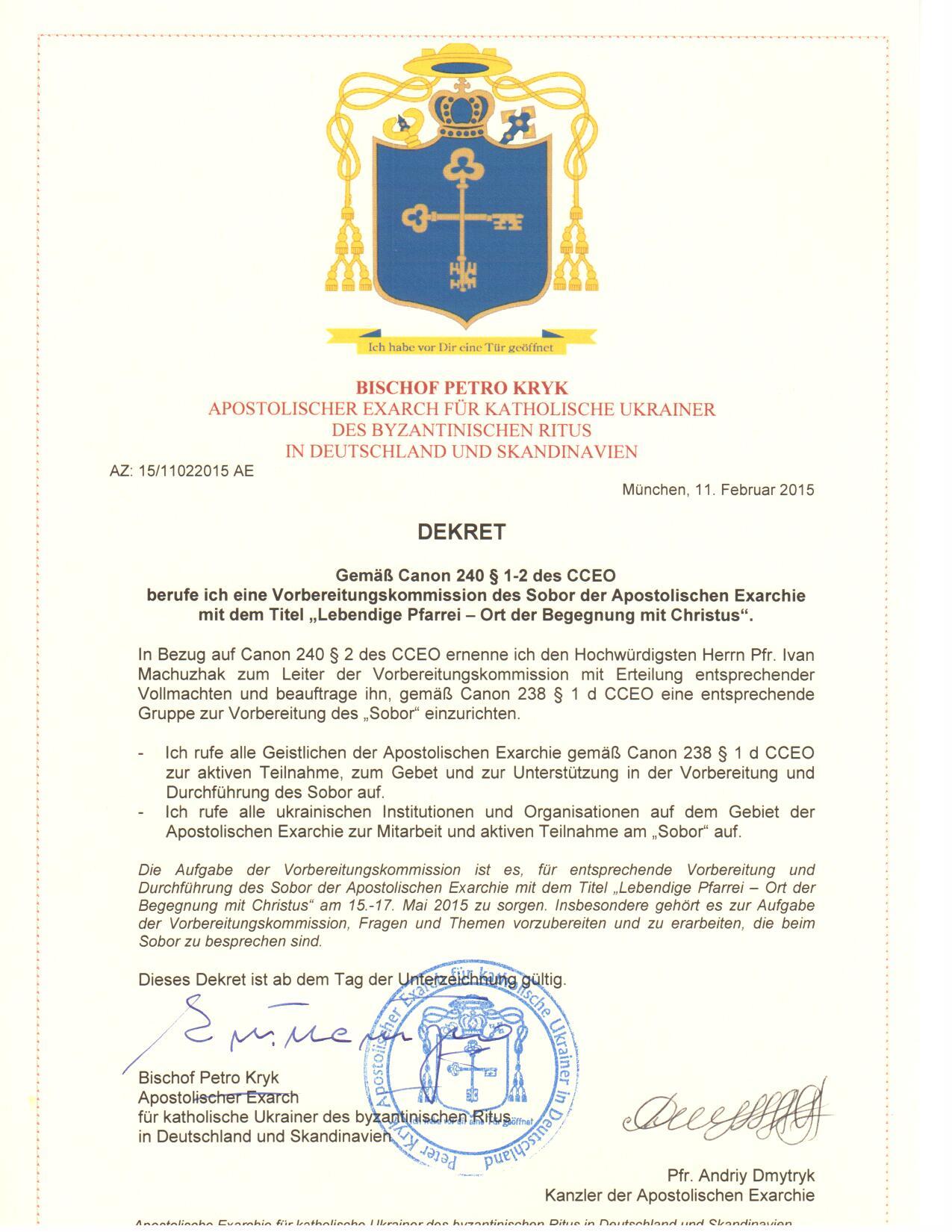 Dekret-Vorbereitungskom zum Sobor d.AE-de