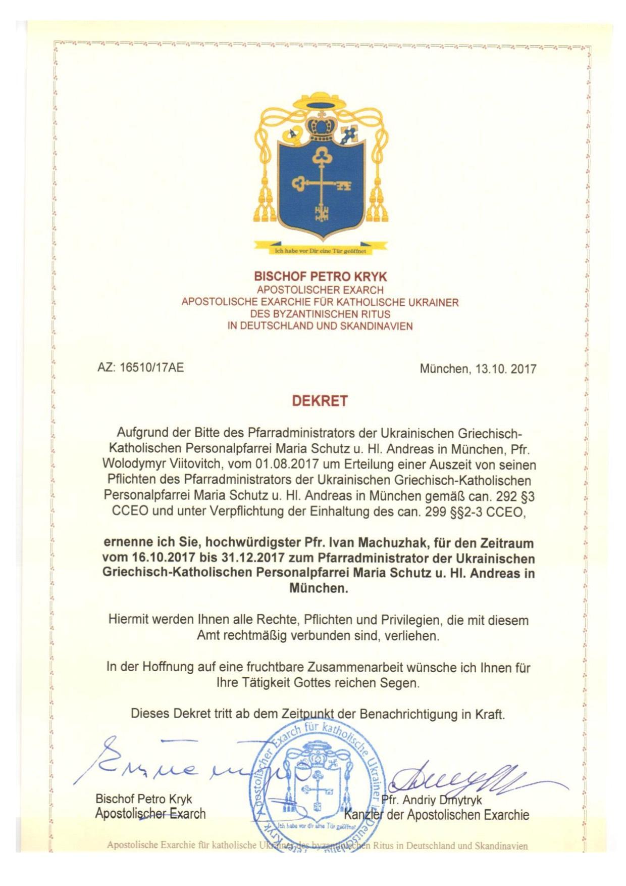 Dekrete 2017 Apostolische Exarchie Für Katholische